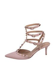 Rockstud Caged Pointed Toe Ankle Strap Sandals