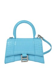 Hourglass Top Handle Xs Bag in Shiny Embossed Leather