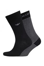 Armani 2-Pack Oxford Stretch Cotton Socks Black