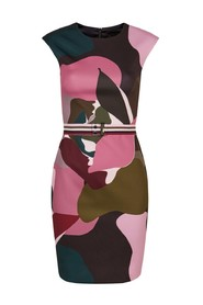 Ted Baker - ginina aansluitend kleed kaki roze camouflage print