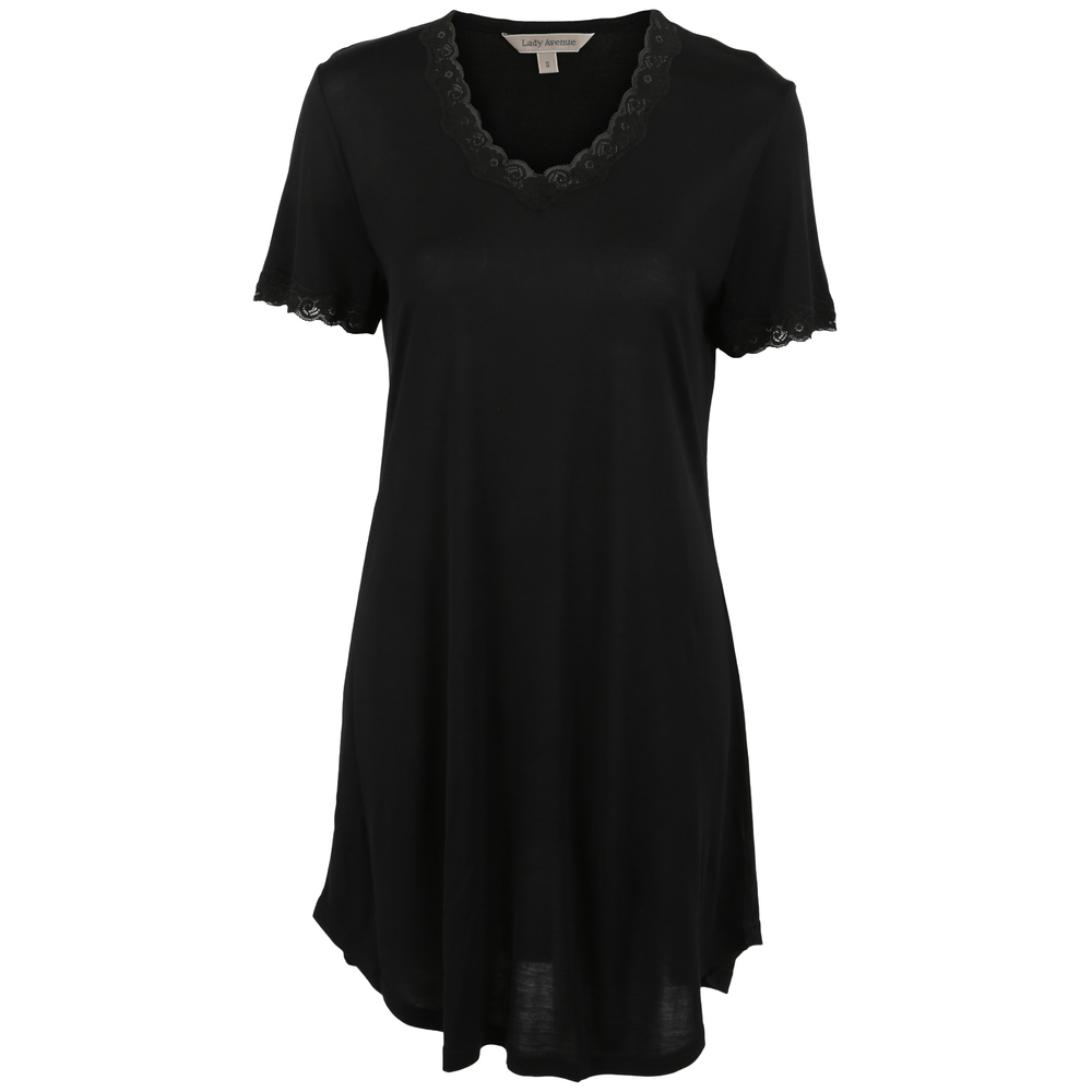 Lady Avenue Sort Pure Silk T skjorte Dame Undertøy