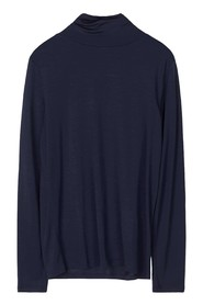 Tencel Polo neck top - INDIGO, L
