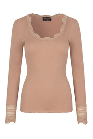 silk top with lace sleeves