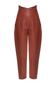 High-waisted leather trousers