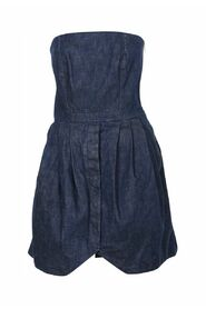 Denim Strapless Mini Dress with Tulip Skirt