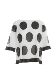 BOAT NECK 3/4S SWEATER W/POIS