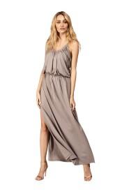 Sukienka maxi z ozdobnie marszczonym dekoltem