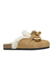 Shearling Chain Loafer Slides