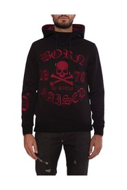 Sweatshirt with hood and gothic writing