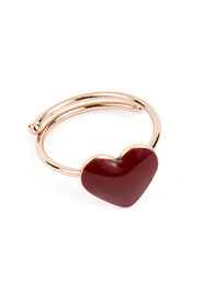 GLAZED HEART OPEN RING