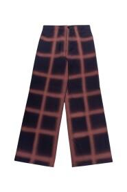 Pantalon en laine et crêpe ample avec carreaux