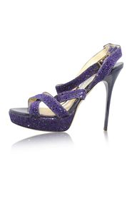 Purple Glitter Criss Cross Vamp Heels