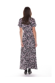 Ava Flower Maxi Wrap Dress Black/ Red