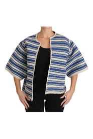 Raffia Striped Short Sleeve Coat