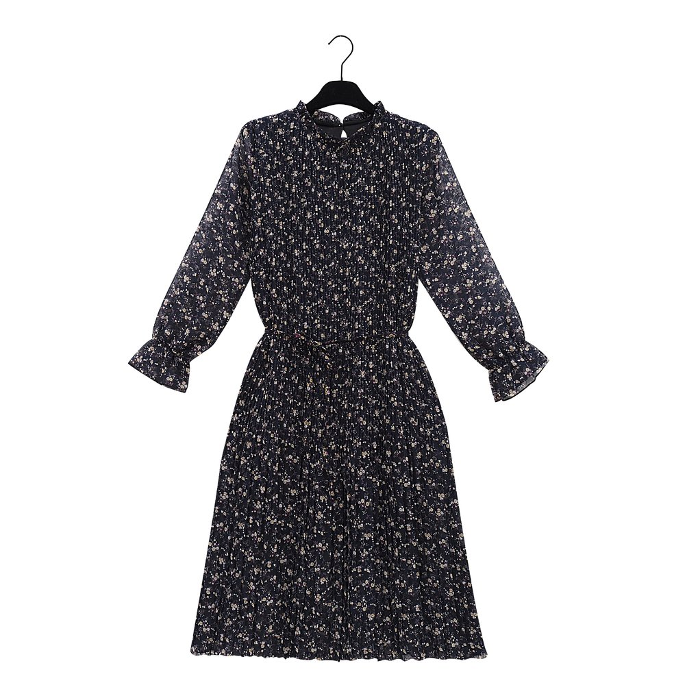 RIE Pleated Navy Blue Print Dress