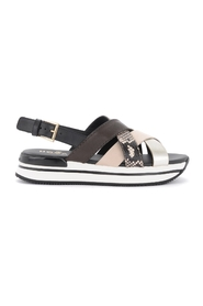 H222 sandals in leather with python print