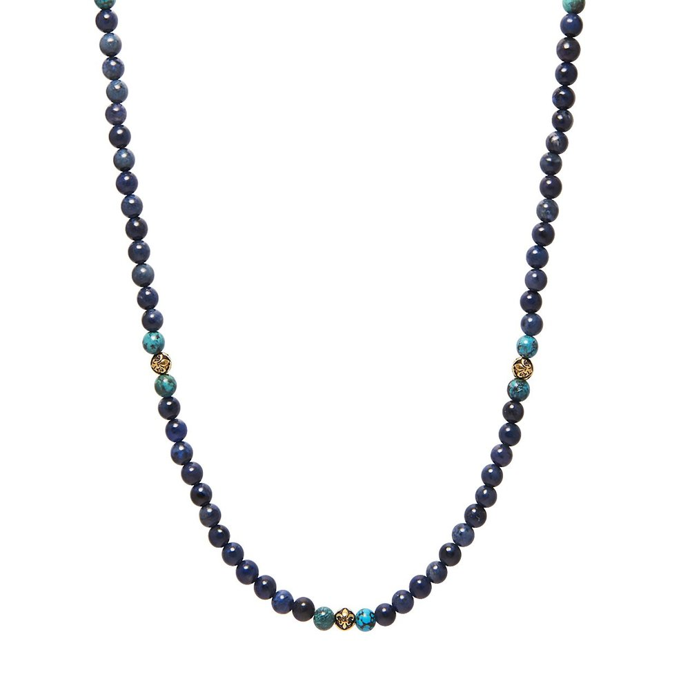 Men's Beaded Necklace with Blue Dumortierite, Bali Turquoise and Gold