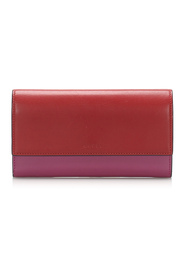 Bicolor Leather Long Wallet