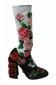 Floral Crystal Sock Boots