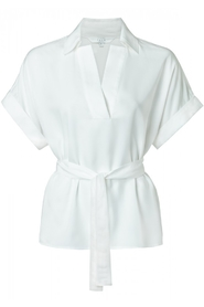 YAYA - Kimono Style top With V-Neck and Tie Waist - Pure White