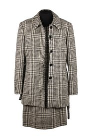 Houndstooth Alpaca Shift Dress and Coat Suit