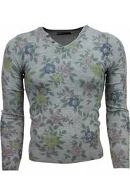 Casual Sweater - Floral Motif Print
