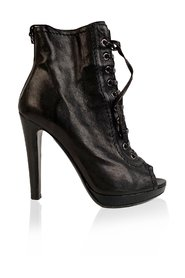 Leather Booties Open toe Ankle Boots Size 38.5