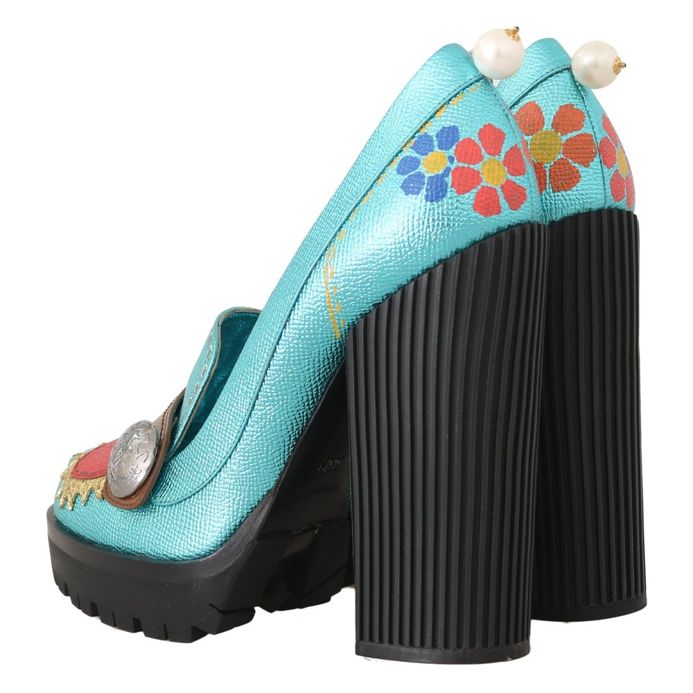 Dolce & Gabbana Multicolor Handpainted Heart Pumps Dolce & Gabbana