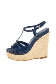 Pre-owned Patent Leather Espadrille Wedge T-Strap Platform Sandals