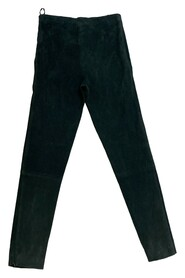 suede zipper ankle slim fit trousers