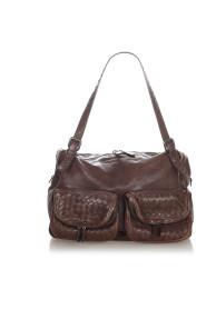 Pre-owned Intrecciato Leather Shoulder Bag