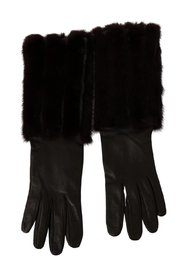 Brown Mid Arm Length Leather Fur Gloves