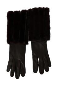 Brun Mid Arm längd läder Fur Handskar