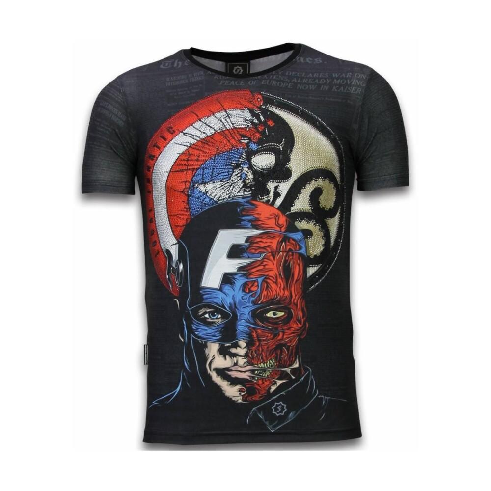 Zwart Gangster Marilyn Digital Rhinestone T skjorte