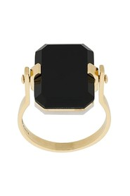 9kt yellow gold ring with white agate and black agate octagonal cut