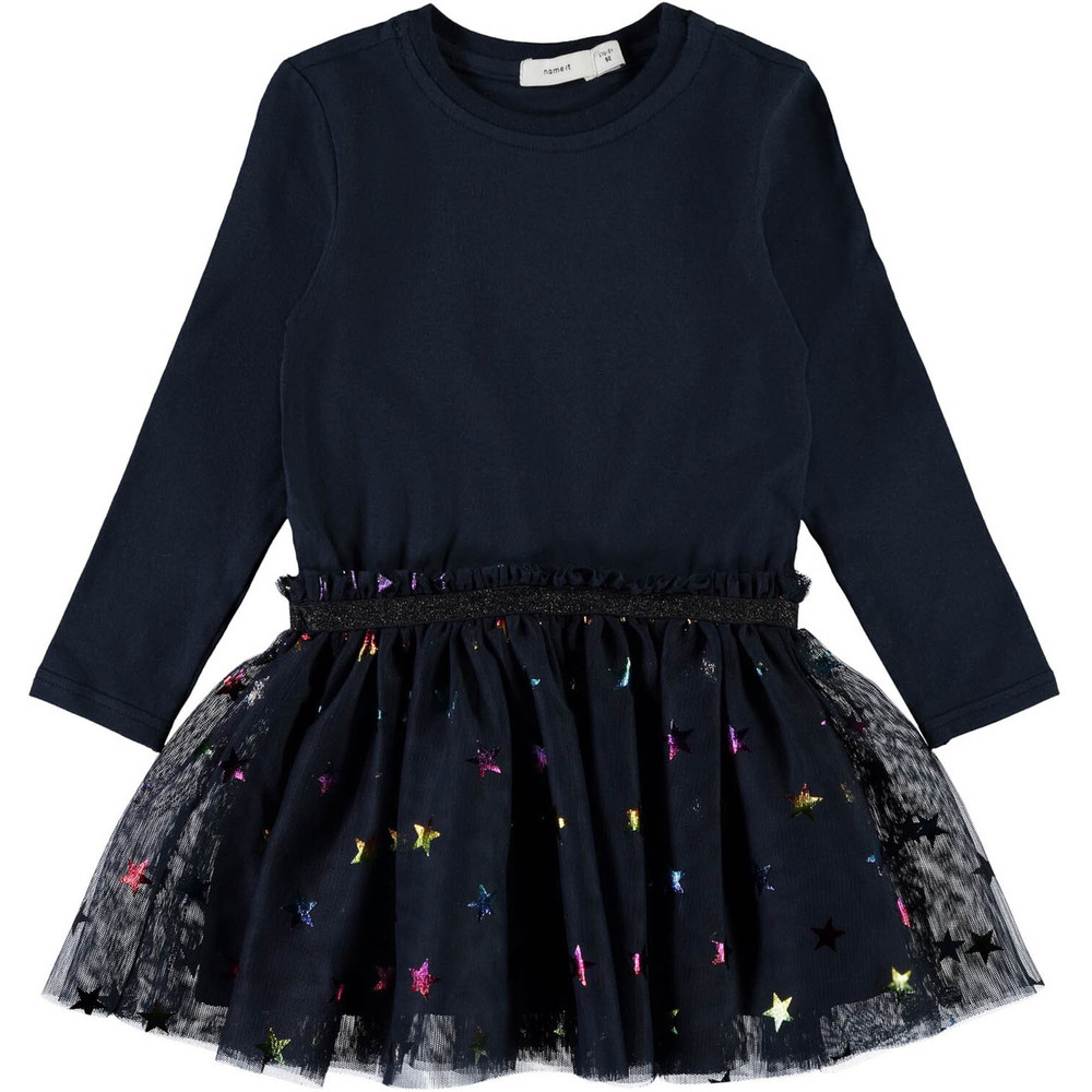 MINI NMFJASMIN LS DRESS W TULLE LIC