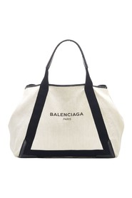 Navy Cabas Canvas Tote Bag