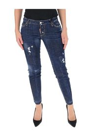 Distressed effect cropped jeans