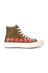 Sneaker Play x Converse alte color kaki con cuori