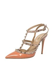 Valentino Peach/Beige Patent Leather And Leather Rockstud Ankle Strap Pointed Toe Sandals