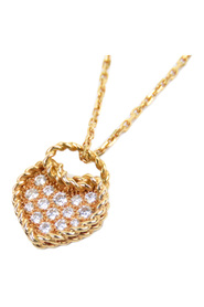 18K Diamond Coeur Torsade Heart Pendant Necklace