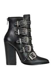 Studded leather ankle-boots