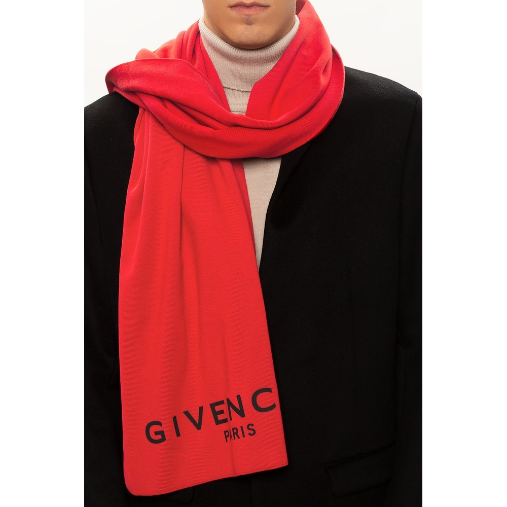 Red Scarf with logo | Givenchy | Sjaals | Heren accessoires