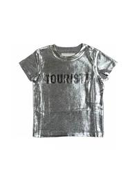 SILVER SHORT SLEEVE T-SHIRT WITH LOGO PRINT
