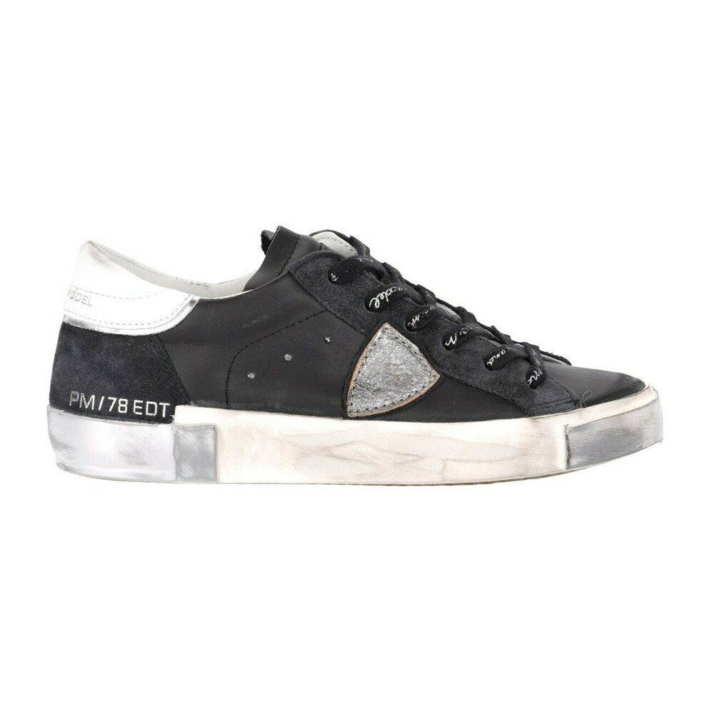 Paris X sneaker in black and silver leather and suede Philippe Model