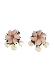 Clip earrings with hand-embroidered flower-motif