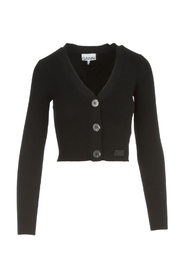 cropped ribbed knit cardigan
