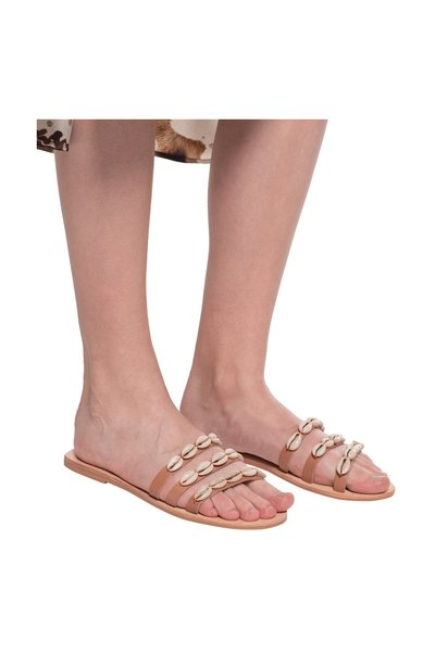 Beige Slides with shell applique | Manebí | Fitflops