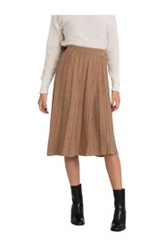 Tobacco wool skirt with lurex stripes