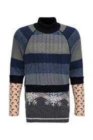 Wool Blend Layered Turtleneck Sweater